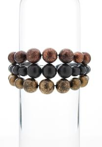 Tri-Toned Wooden Bead Bracelet Set