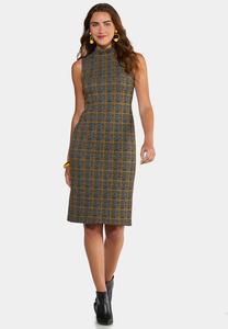 Plaid Mock Neck Dress