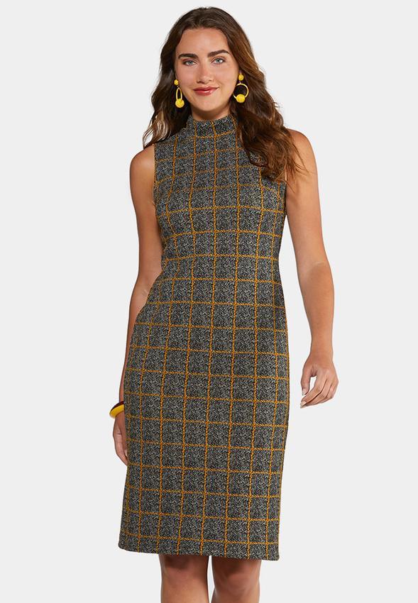 Plus Size Plaid Mock Neck Dress Midi Cato Fashions