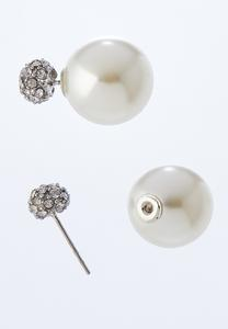 Front Back Pearl Stone Studs