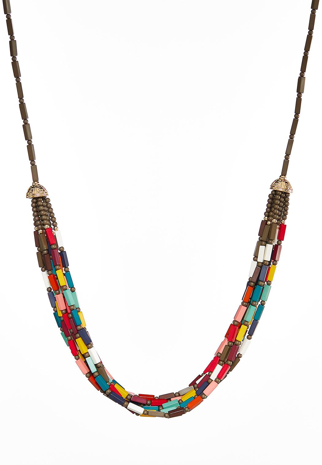 Multi Row Colorful Bead Necklace