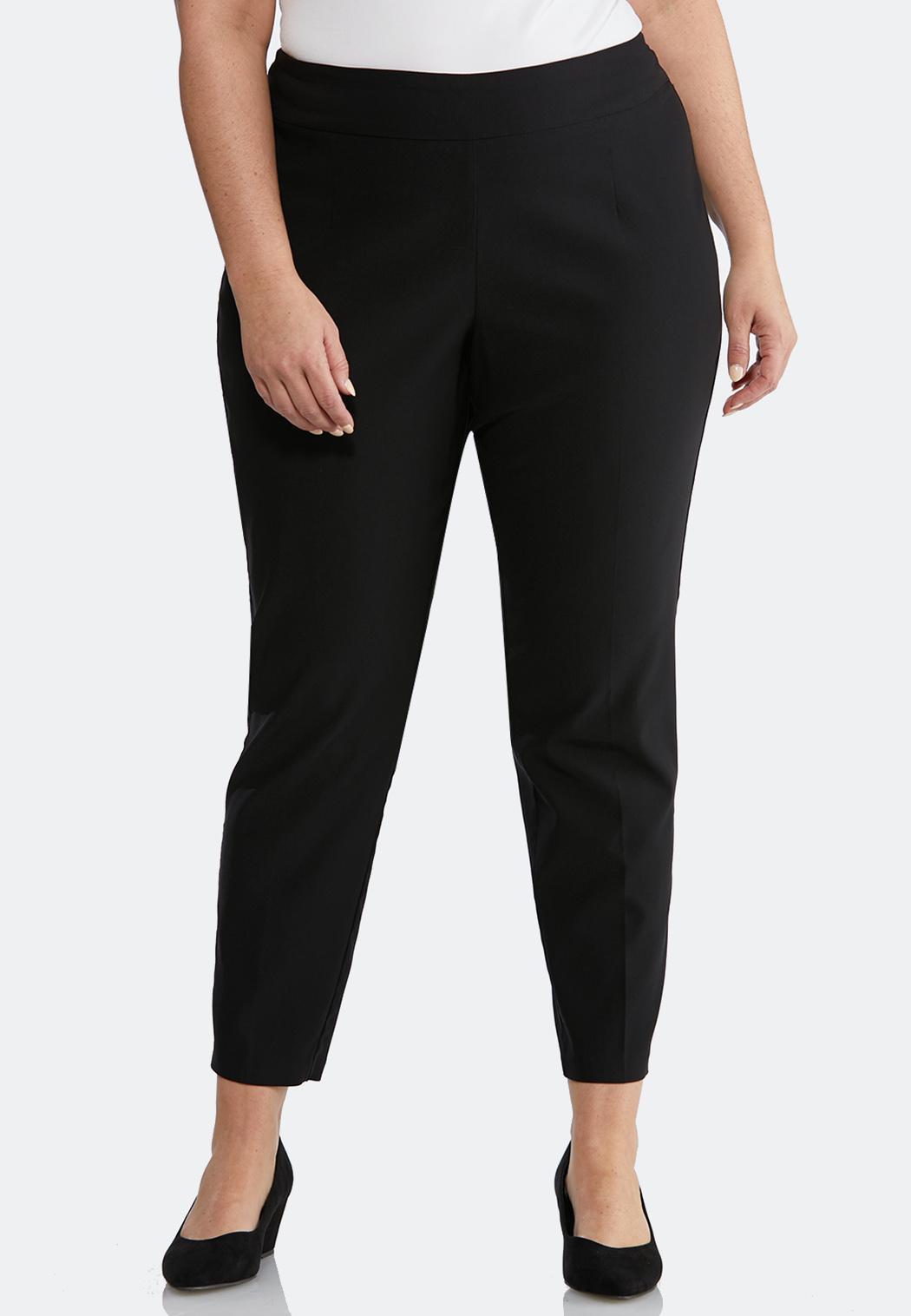 Plus Petite Pull-On Solid Slim Pants