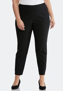 Plus Petite Pull-On Solid Slim Pants