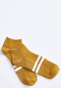 Cable Knit Striped Ankle Socks