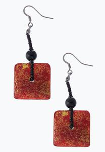 Vintage Red Square Earrings