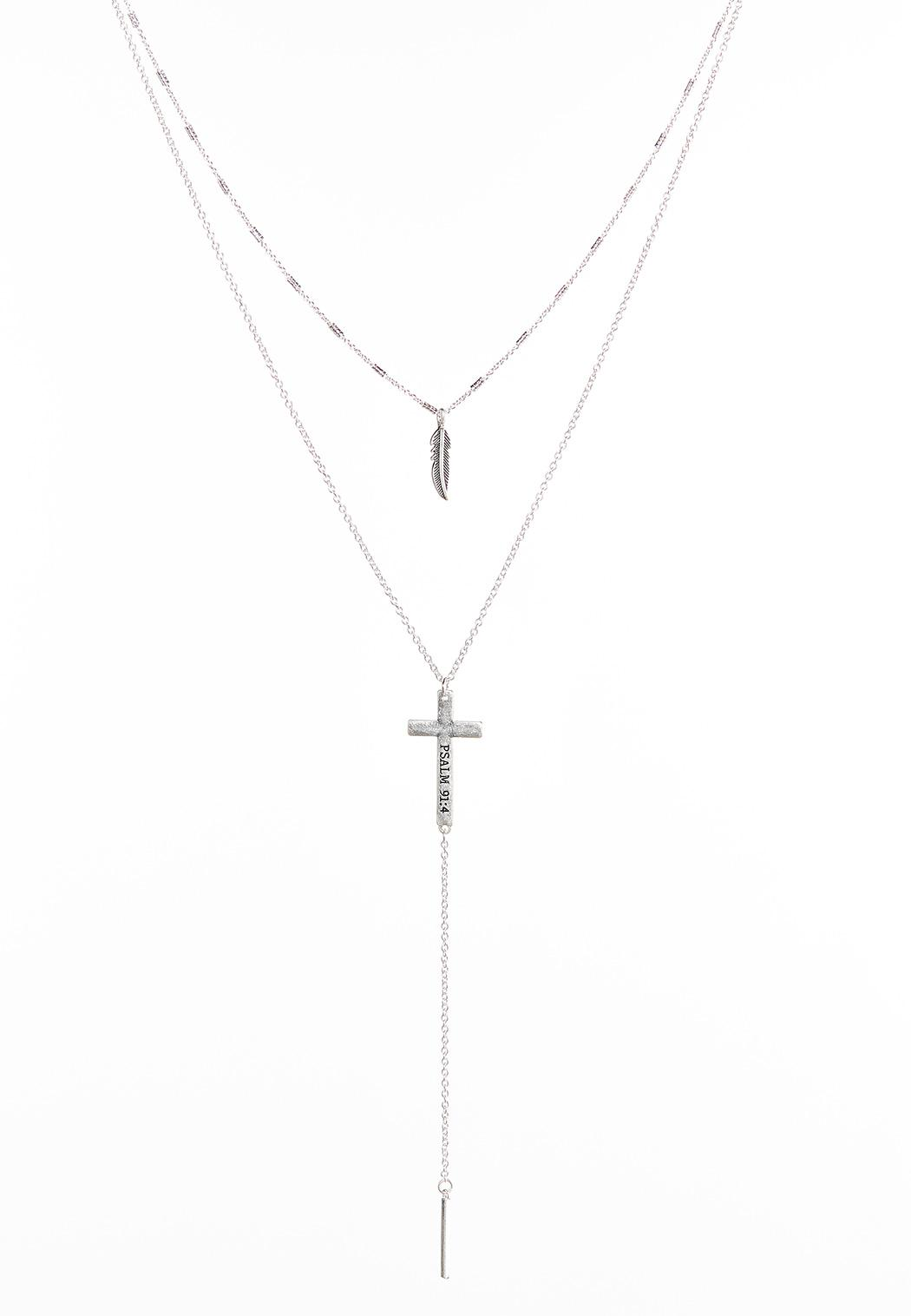 Feather And Cross Layered Necklace