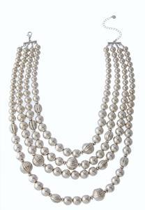 Layered Metallic Bead Necklace