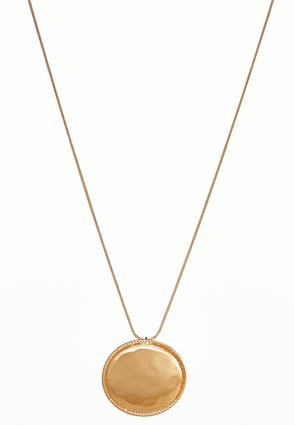 Brushed Gold Disc Pendant Necklace