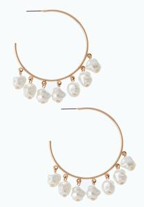 Pearl Charm Hoop Earrings