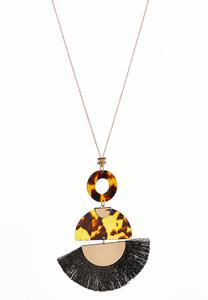 Fringed Tortoise Shell Lucite Necklace