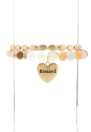 Blessed Wooden Bead Stretch Bracelet