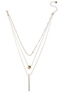 Layered Bar Disc Pendant Necklace