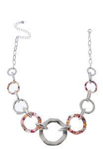 Lucite Metal Ring Necklace