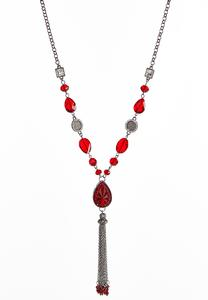 Red Chain Tassel Pendant Necklace
