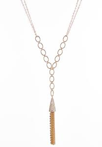 Pave Chain Tassel Necklace