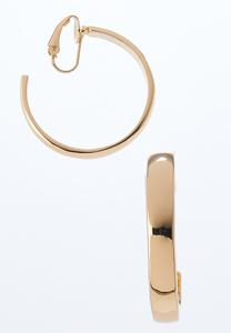 Shiny Gold Hoop Clip Earrings