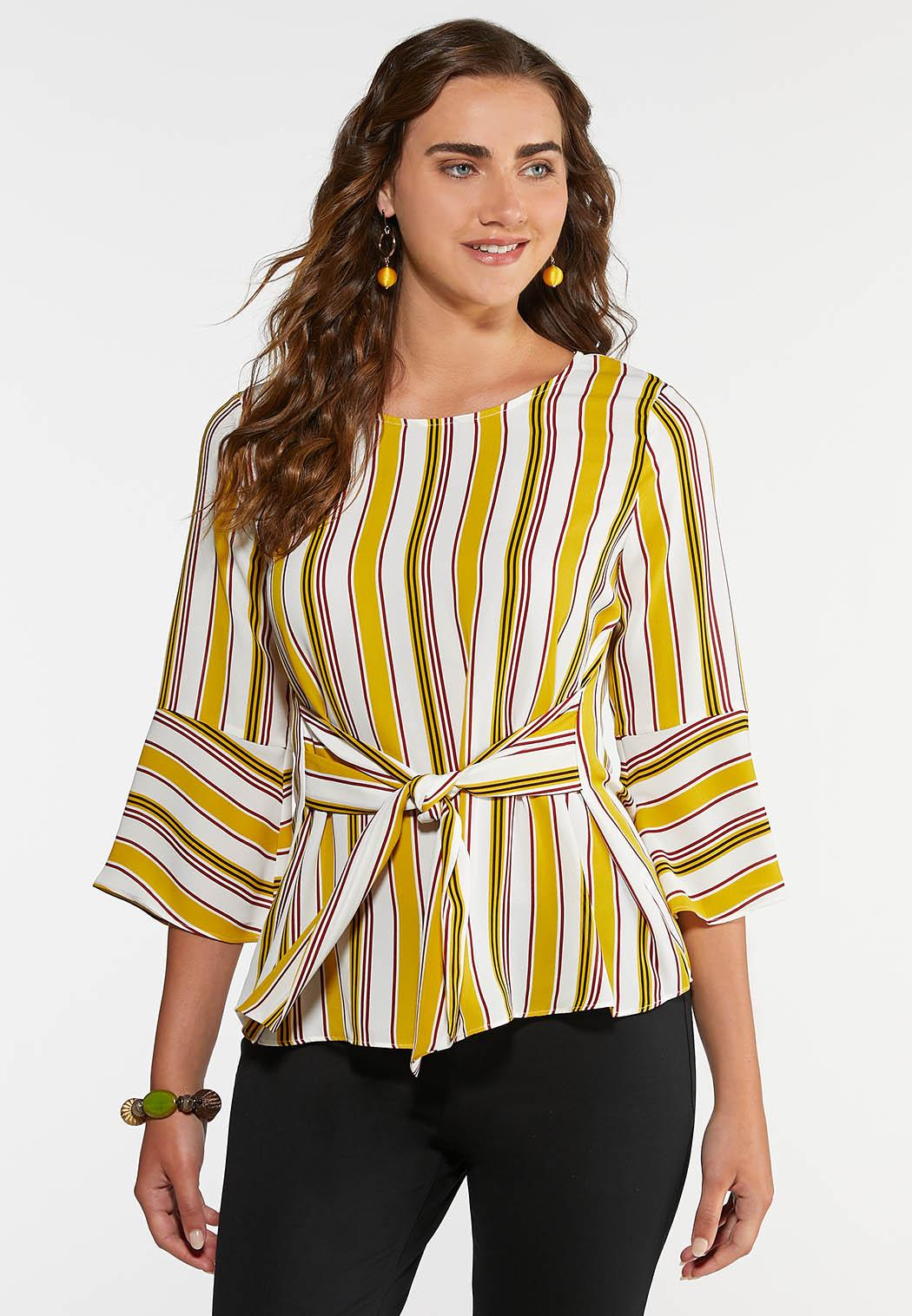 Plus Size Gold Tie Front Top