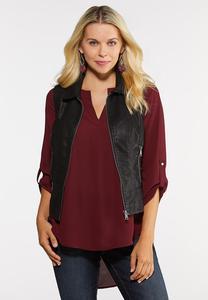 Plus Size Faux Leather Moto Vest