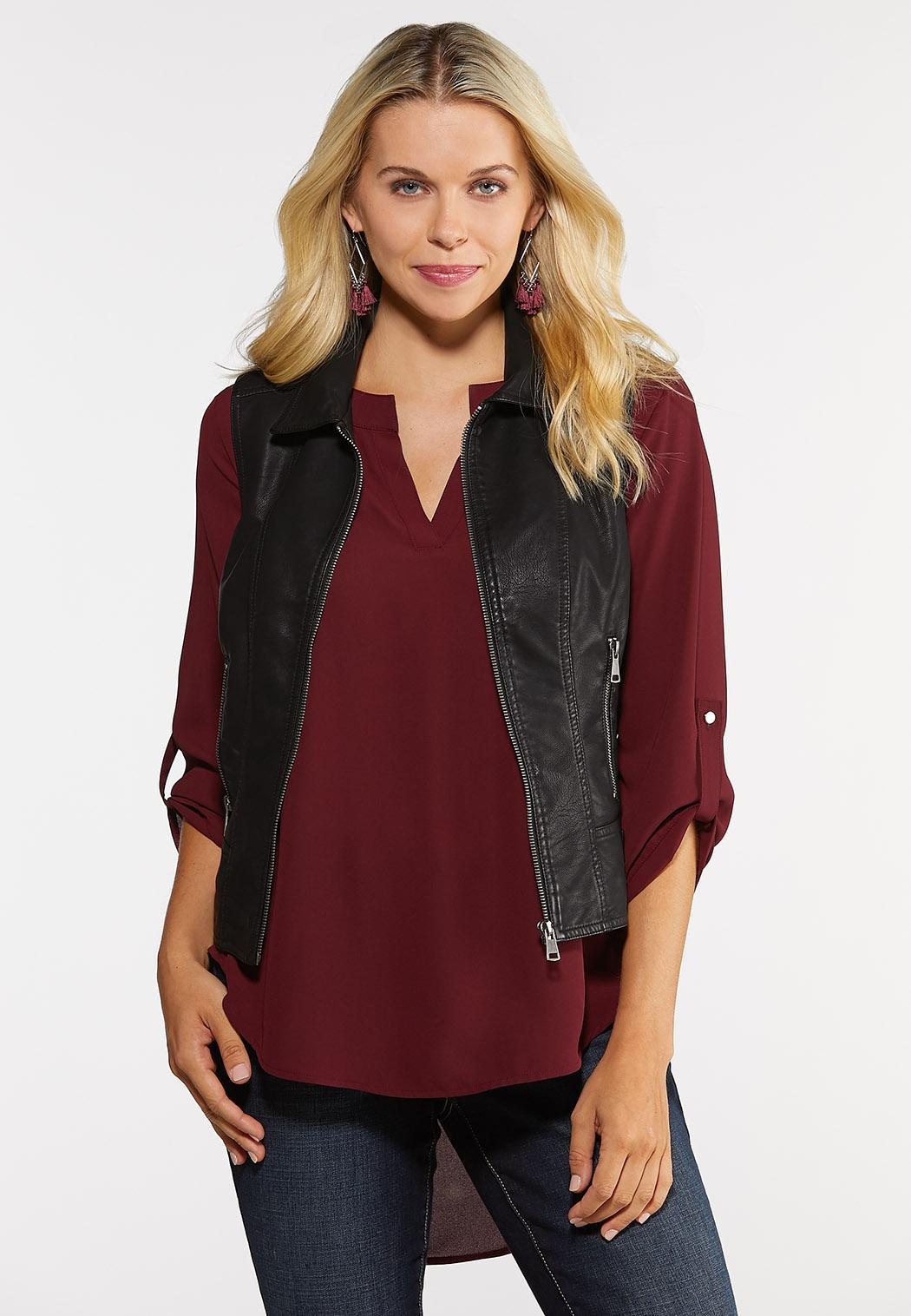 Plus Size Faux Leather Moto Vest Vests Cato Fashions