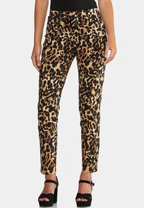 Leopard Slim Leg Pants