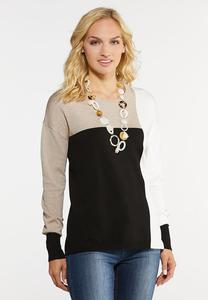 Plus Size Neutral Colorblock Sweater