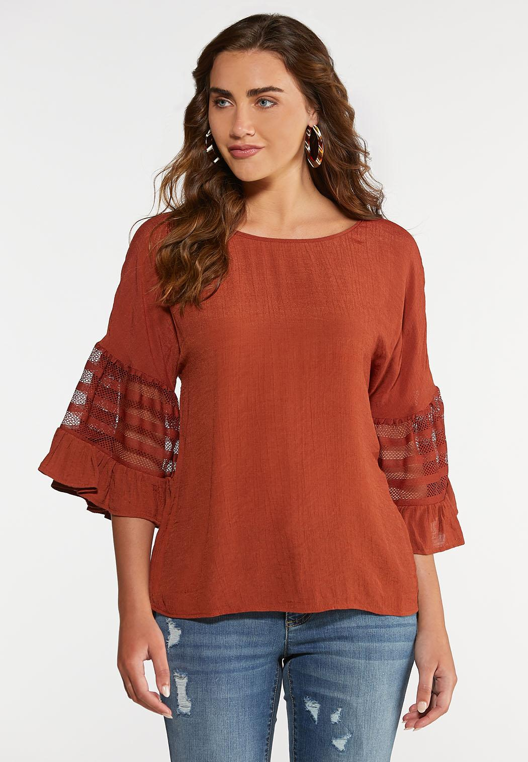 Mesh Sleeve Pullover Top