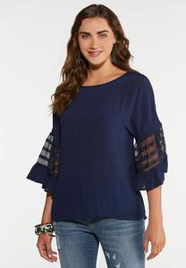 Plus Size Mesh Sleeve Pullover Top