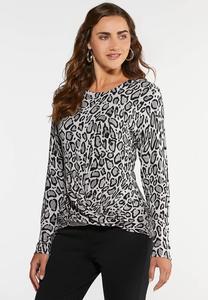 Plus Size Ribbed Animal Sweater