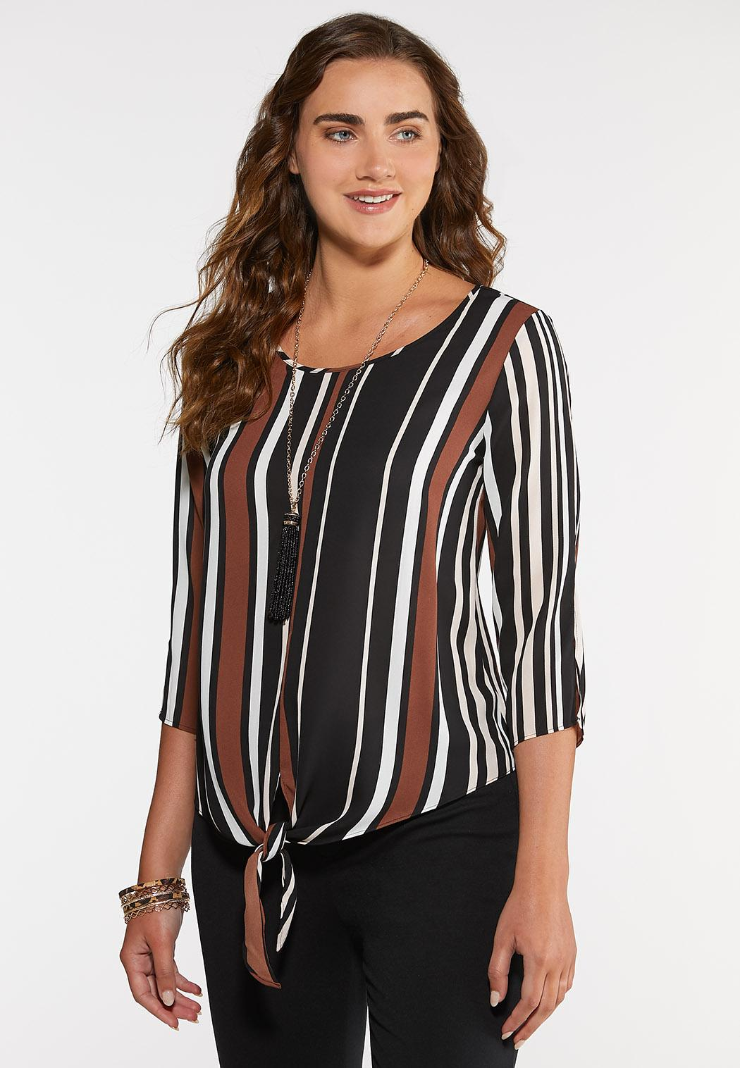 Plus Size Brown Stripe Tie Front Top