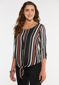 Plus Size Brown Stripe Tie Front Top