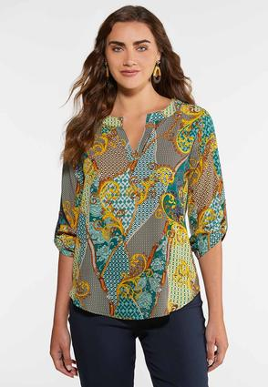 Plus Size Jeweled Green Paisley Top