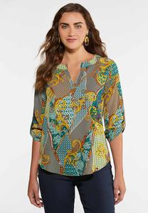 Jeweled Green Paisley Top
