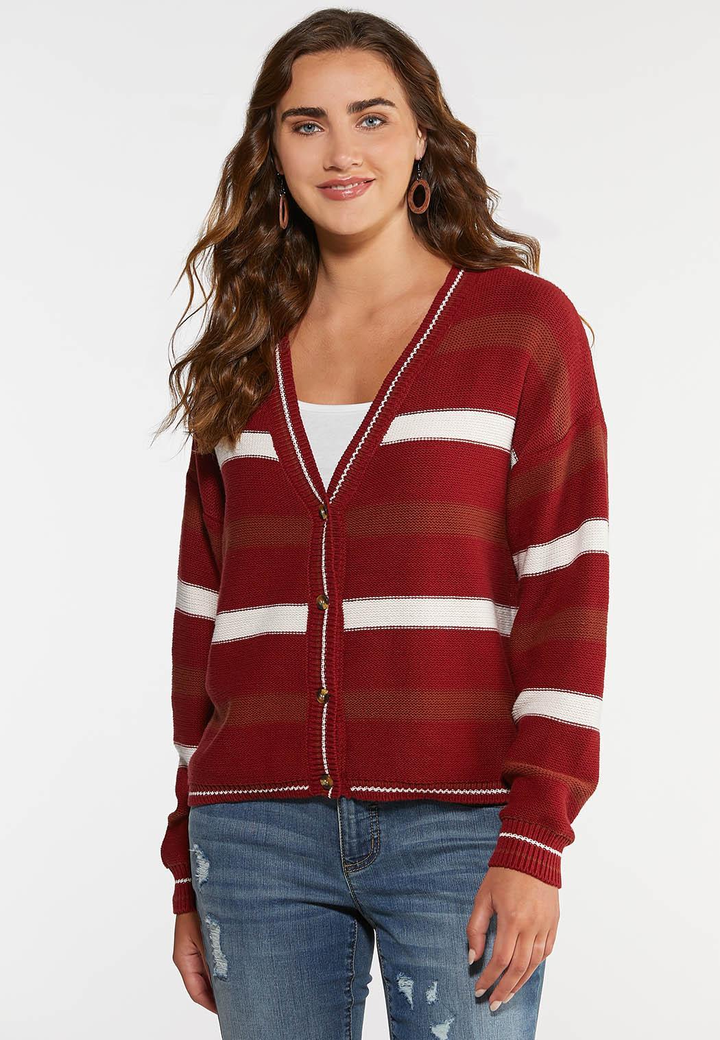 Autumn Red Cardigan Sweater