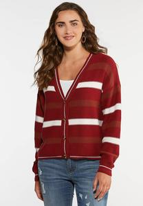 Plus Size Autumn Red Cardigan Sweater
