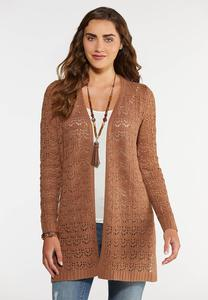 Plus Size Beige Duster Cardigan Sweater