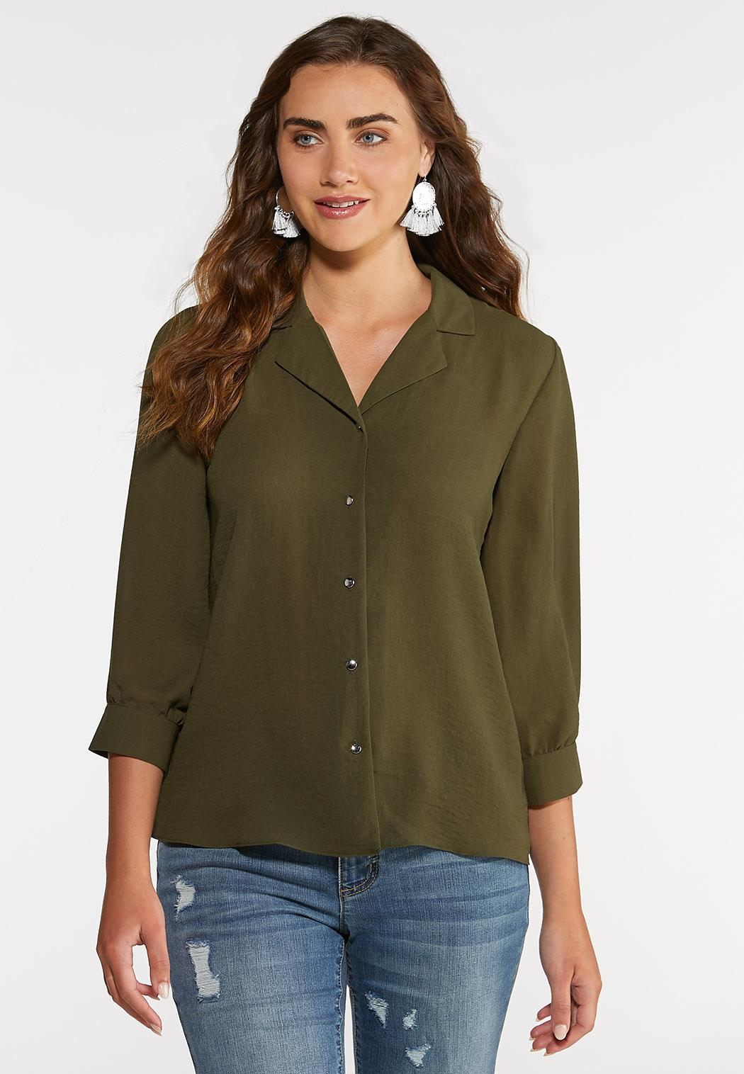 Plus Size Olive Button Down Shirt