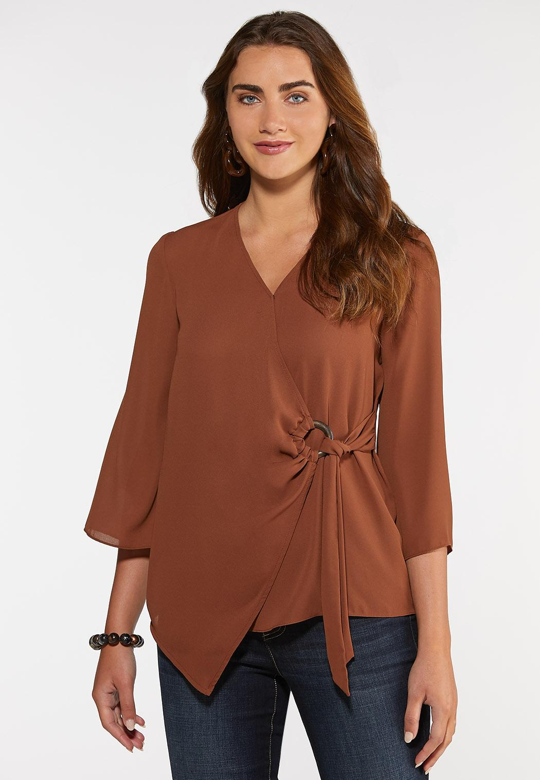 Plus Size Wood Ring Wrap Top