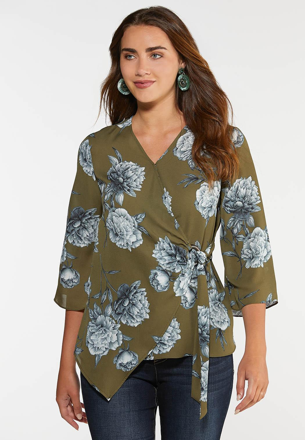 Plus Size Floral Wood Ring Wrap Top
