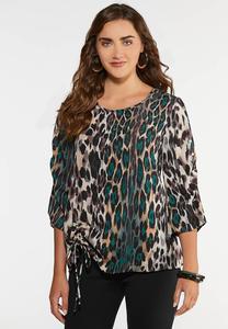 Plus Size Cinched Leopard Print Top
