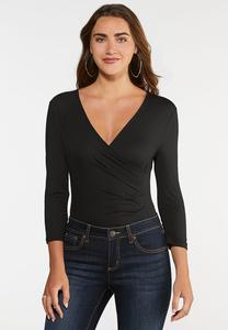 Plus Size Surplice V-Neck Bodysuit