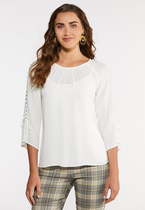 Plus Size Ivory Button Sleeve Top