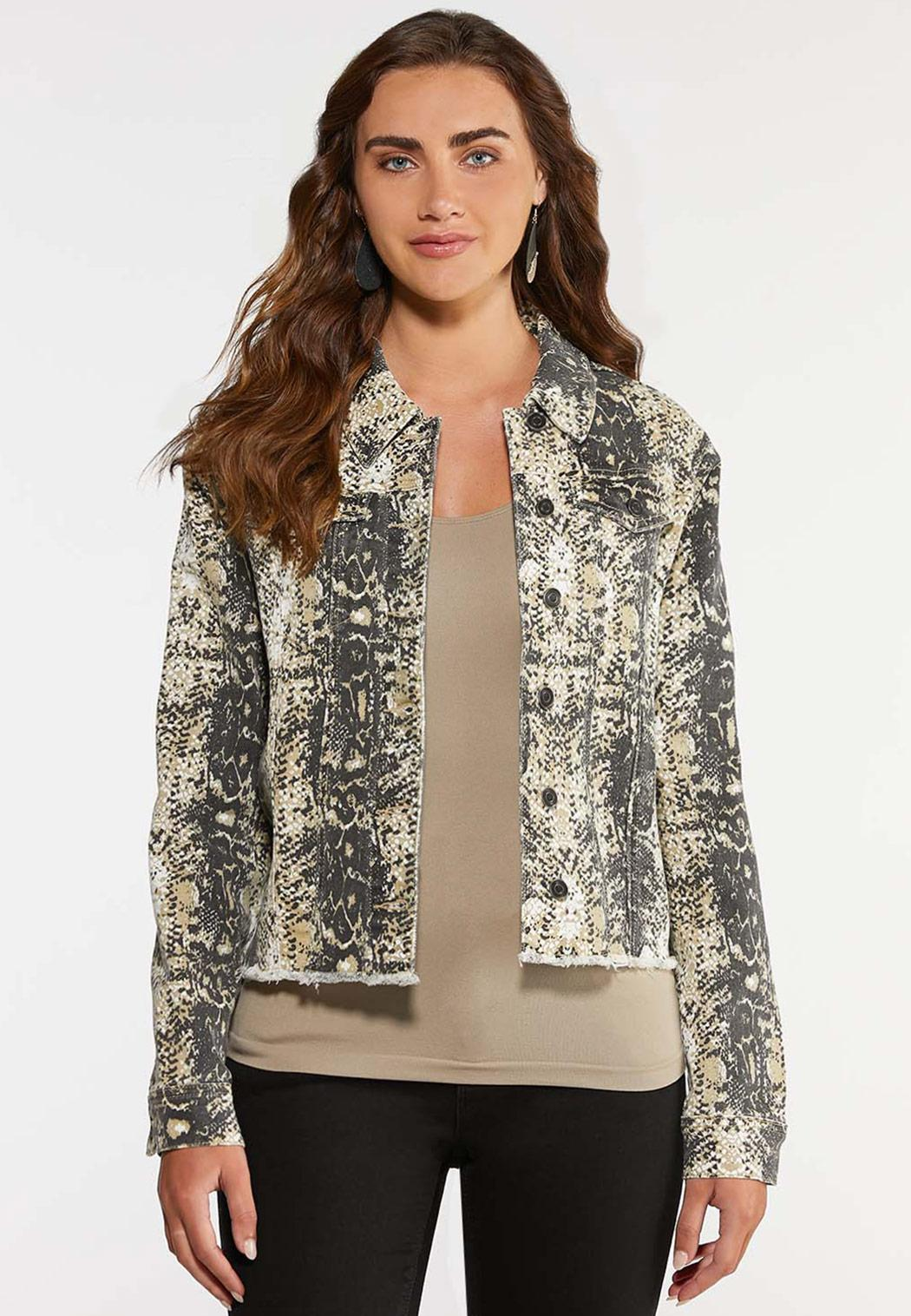 Plus Size Snakeskin Print Denim Jacket