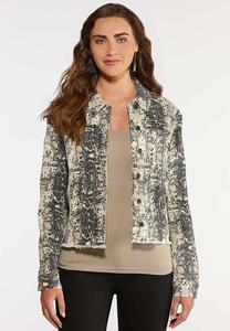 Plus Size Snakeskin Print Denim Jacket