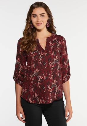 Plus Size Cranberry Zebra Print Top