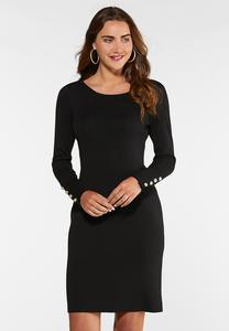 Plus Size Pearl Button Dress