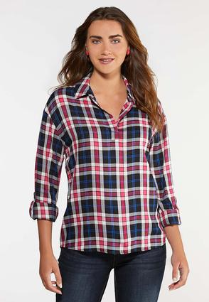 Plus Size Plaid Pullover Top