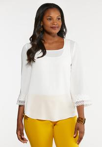 Square Neck Crochet Trim Top