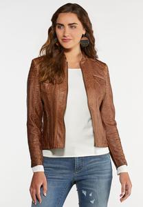 Plus Size Distressed Moto Jacket