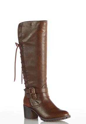 Wide Width Lace Up Back Tall Boots