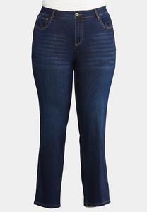 Plus Size Dark Wash Straight Denim